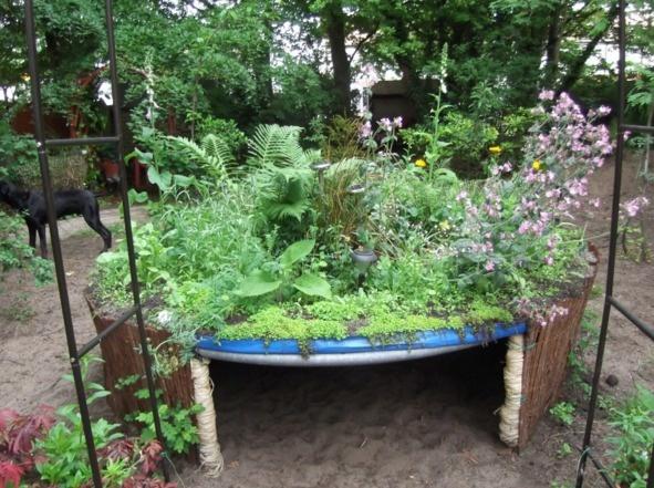 hut van oude trampoline